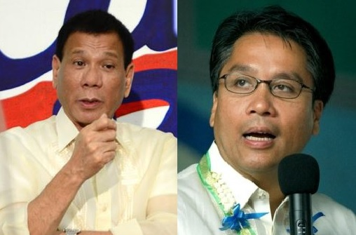"Presidential candidates Rodrigo ""Rody"" Duterte (left) and Manuel ""Mar"" Roxas resume 'word war'. (Photo from the official Facebook pages of Duterte and Roxas)"
