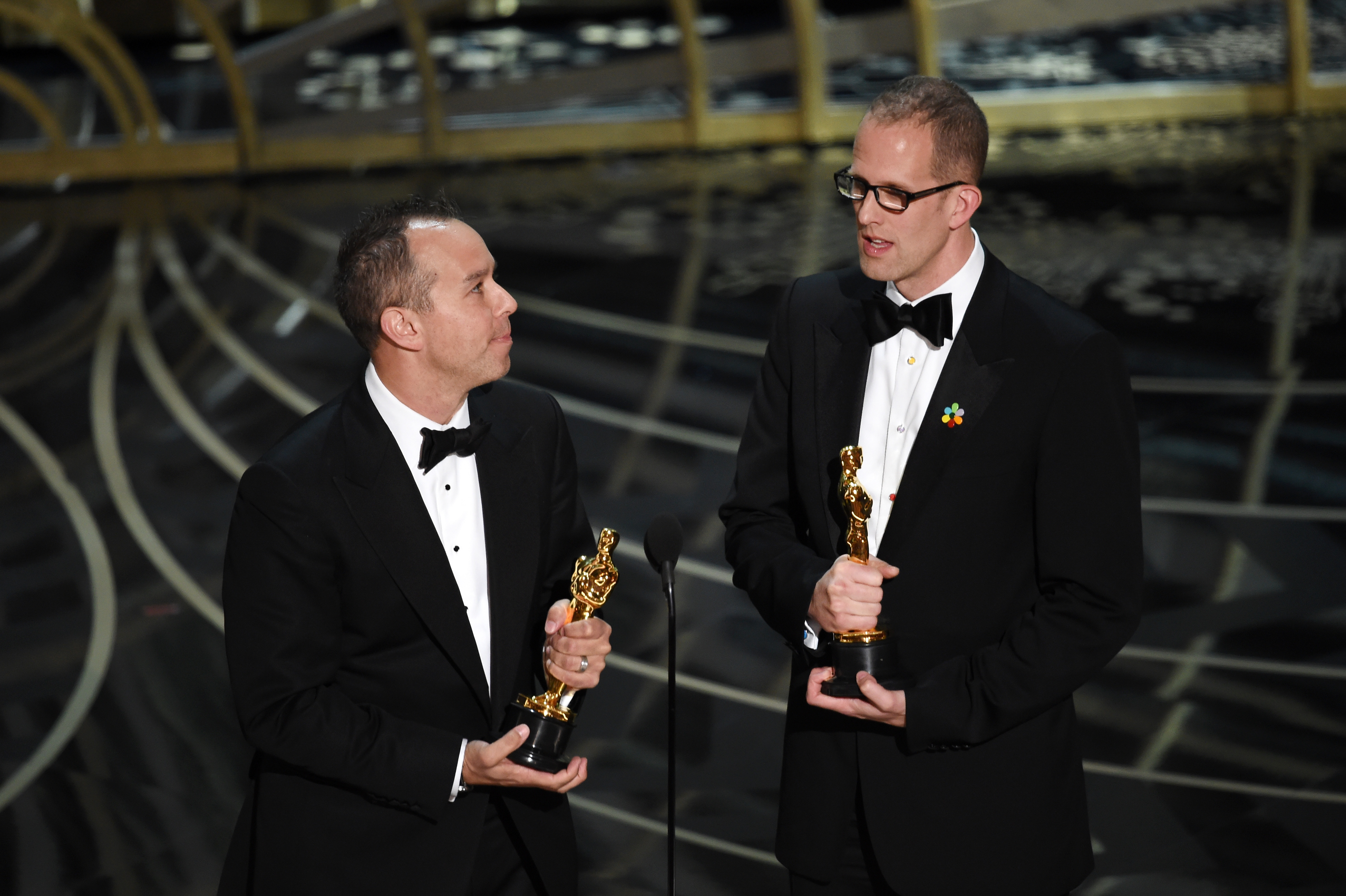 Jonas Rivera and Pete Docter accept Best Animated Feature award for Inside Out at the 88th Academy Award. (Photo courtesy of The Oscar)