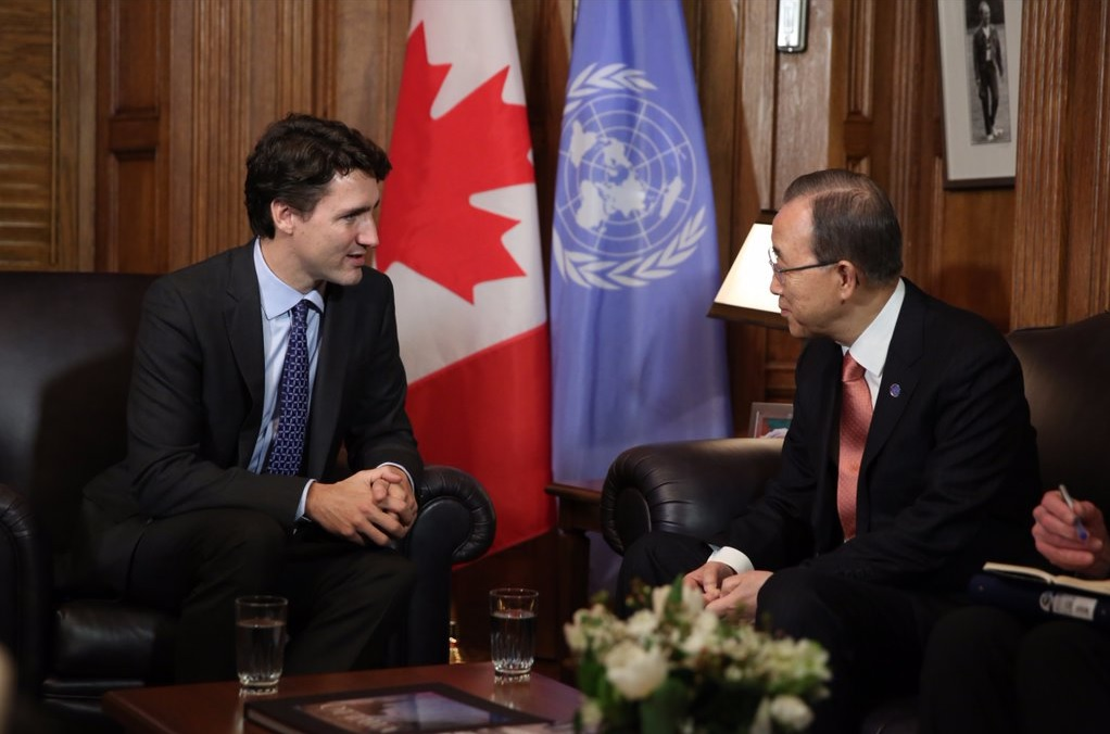 Prime Minister Justin Trudeau with United Nations Secretary-General Ban-Ki Moon in Ottawa (Photo courtesy of PM Trudeau's official Twitter account).