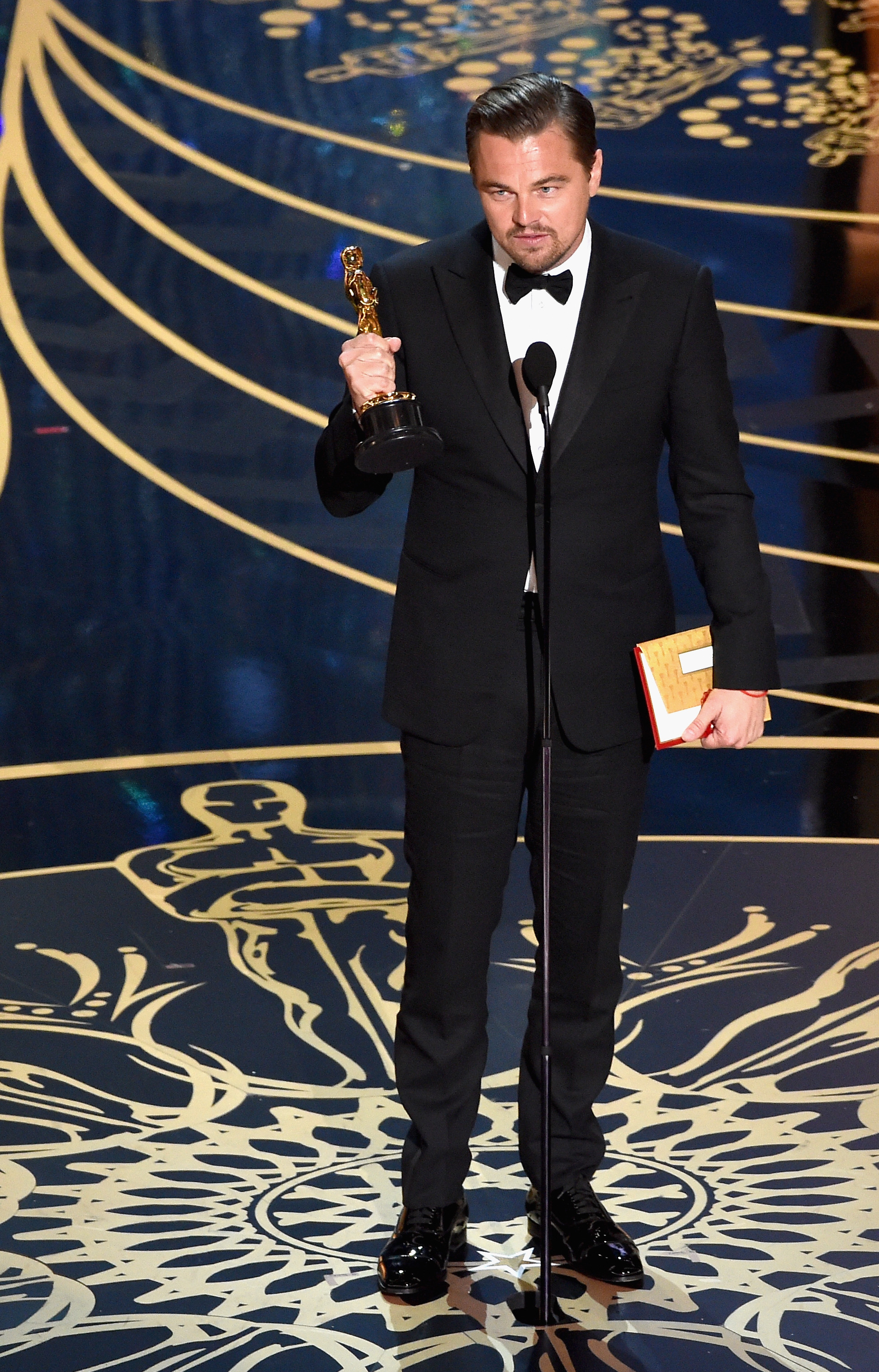 Leonardo Dicaprio accepts award for Best Actor in the movie The Revenant at the 88th Annual Academy Awards. (Photo courtesy of The Oscars)