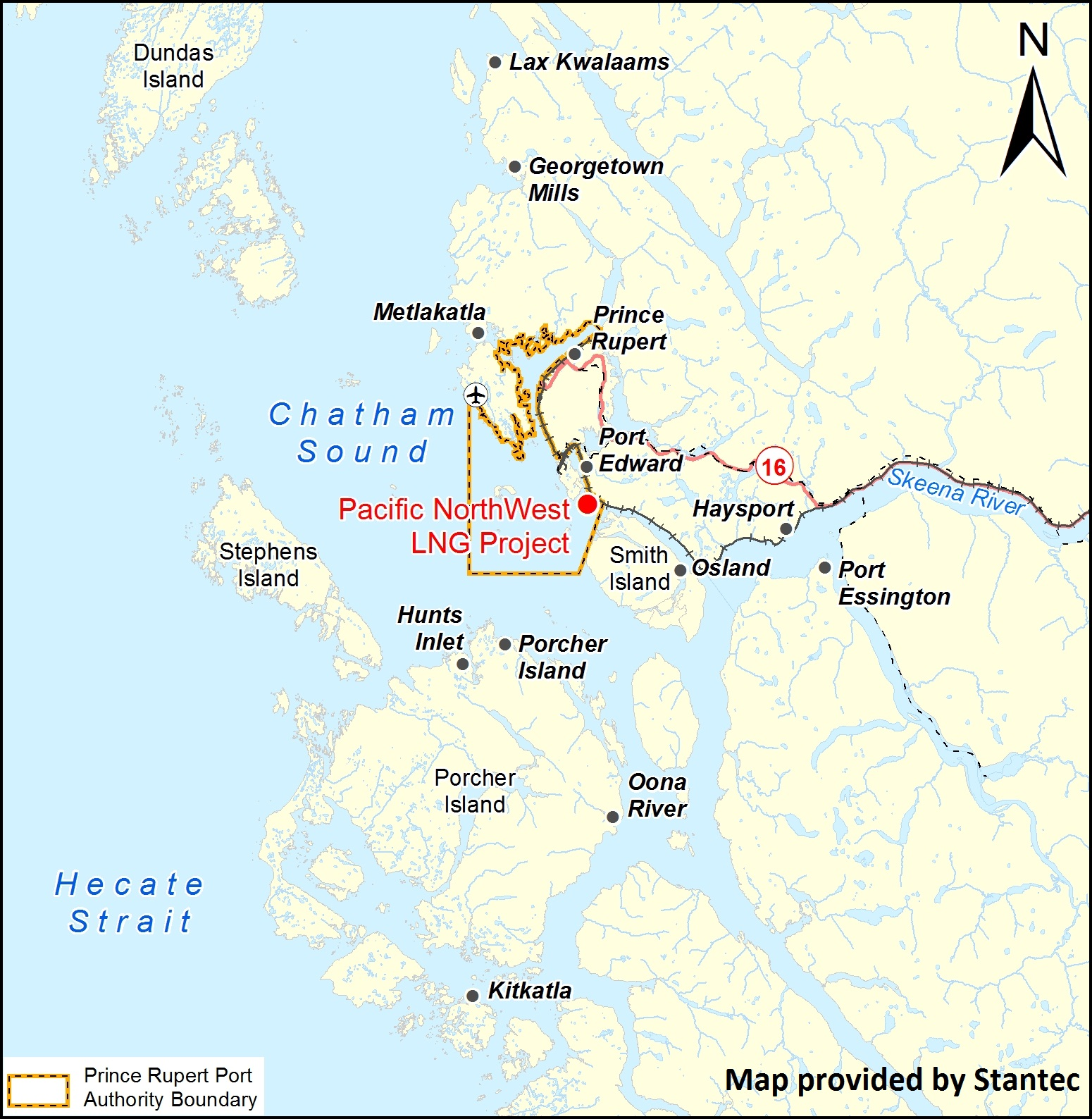 Map of the Pacific NorthWest LNG Project (Photo courtesy of Stantec and the Canadian Environment Assessment Agency website).