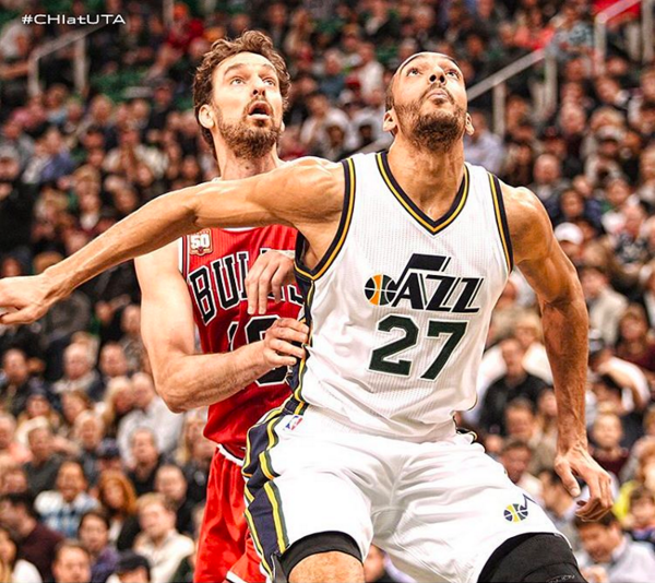 Bulls' Pau Gasol and Jazz's Rudy Gobert (Instagram photo)