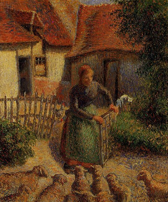 """Shepherdess Bringing in Sheep"" painting by Camille Pissarro."