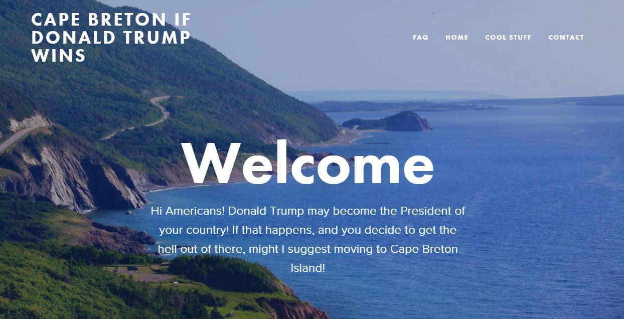 Screenshot of Cafe Breton If Donald Trump Wins website