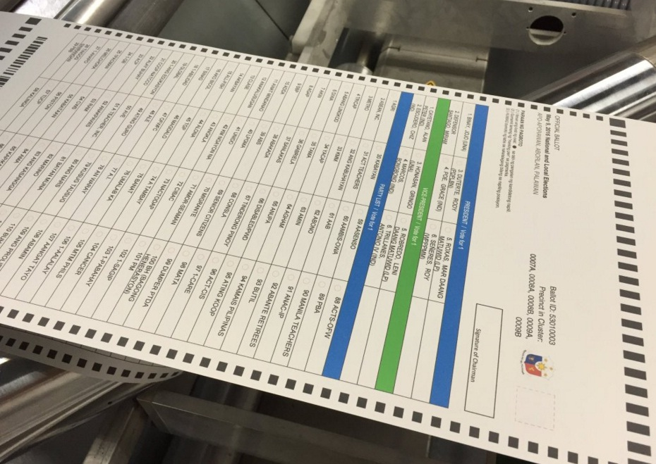 FILE PHOTO: A sample of a ballot the 2016 Philippine national election (Twitter photo).