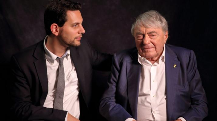 Oscar-nominated, Toronto-based director Adam Benzine (left) and French filmmaker Claude Lanzmann (right). (Photo courtesy of Benzine's official Twitter account)