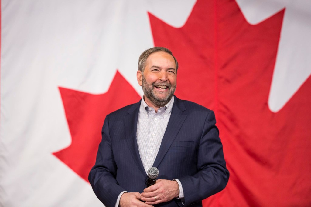 """Mulcair is known and respected throughout every part of Canada and has the organic relationship with Quebec to keep and expand our strongest geographic base,"" the labour leaders' statement said.  (Photo from Mulcair's official Facebook page)"