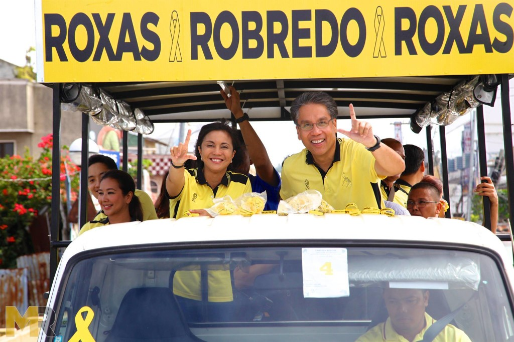 Presidential aspirant Mar Roxas with running mate Rep. Leni Robredo during a campaign.  (Facebook photo)