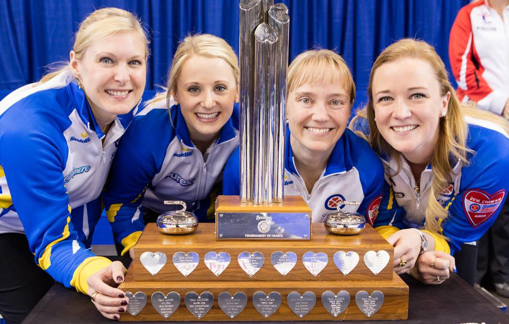Team Canada: (L-R) front, Laine Peters, Jocelyn Peterman, Amy Nixon and Chelsea Carey; back, coach Charley Thomas, alternate Susan O'Connor. (Photo from Curling Canada's official Facebook page)