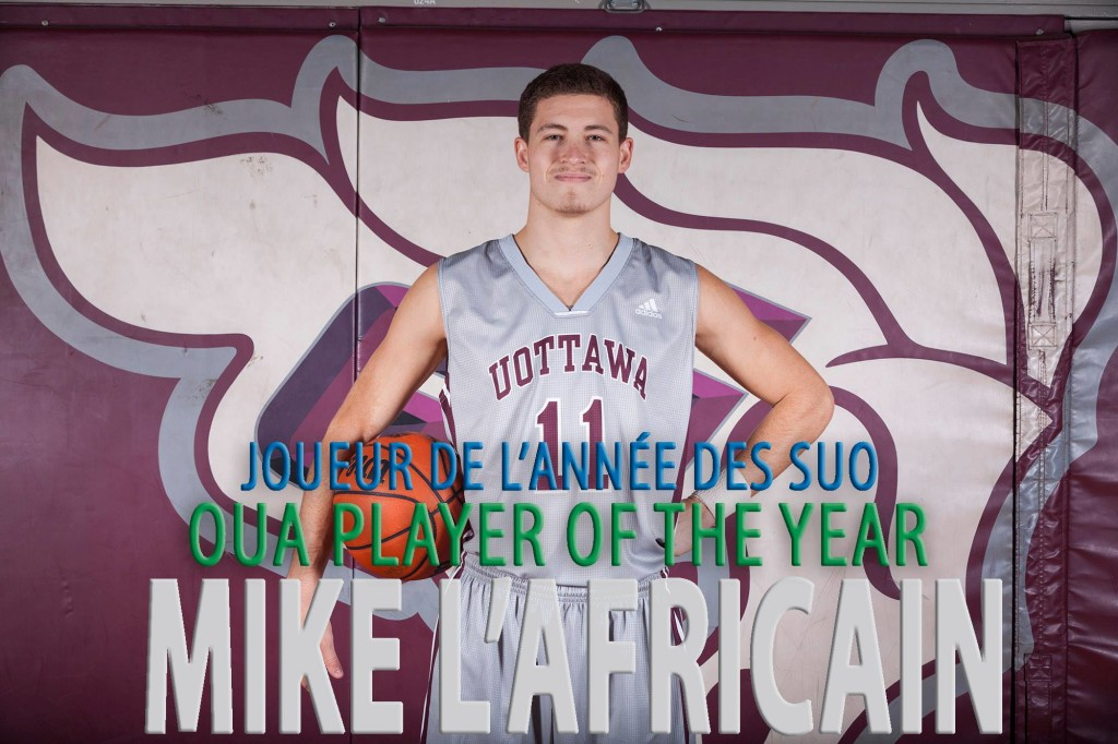 Ottawa guard Mike L'Africainis the second straight Ottawa player to capture the honour. (Photo from uOttawa Gee-Gees' Facebook page)