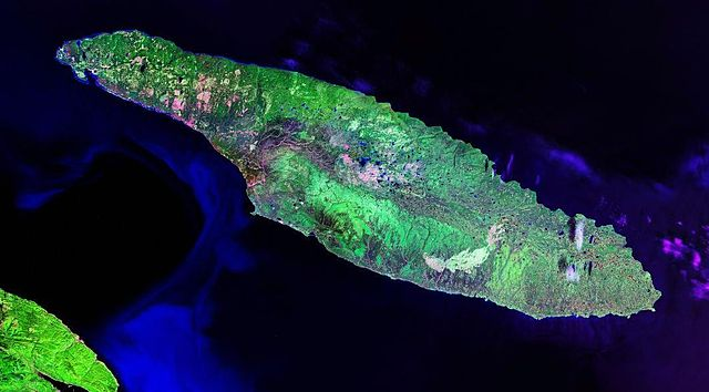 Sattelite image of Anticosti Island in the province of Quebec. (Photo from NASA via Wikipedia)