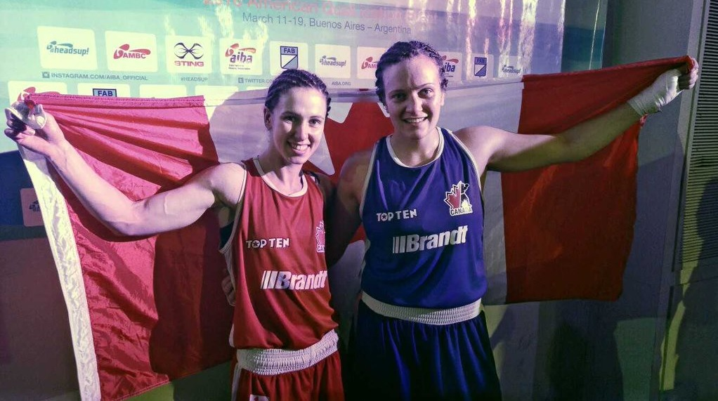 Canadian boxers Mandy Bujold (left) and Ariane Fortin (right) will compete at Rio Olympics this summer.  (Twitter photo.)