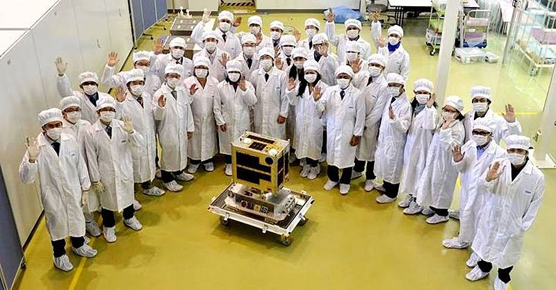 Turnover of Diwata-1 at the Tsukuba Space Center. (Photo from PAGASA)