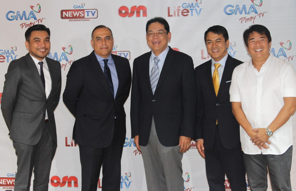 (From left) Chuck Silva, OSN Pinoy Director; Emad Morcos, OSN SVP for Media Partners, Affiliate Channels, and Digital Content; GMA Network President and COO Gilberto R. Duavit, Jr.; GMA First Vice President and Head of International Operations Joseph T. Francia; and Kapuso host Willie Revillame at OSN's courtesy call at the GMA Network Centre in Quezon City (Contributed photo)