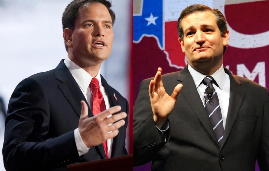 Marco Rubio (left) and Ted Cruz (right) pressed Trump aggressively on his conservative credentials, his business practices and changing policies. (Facebook photos)