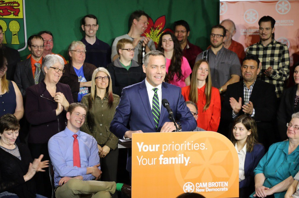 NDP Leader Cam Broten unveils a full campaign platform that focus on families and seniors.  (Photo: Cam Broten/Twitter)
