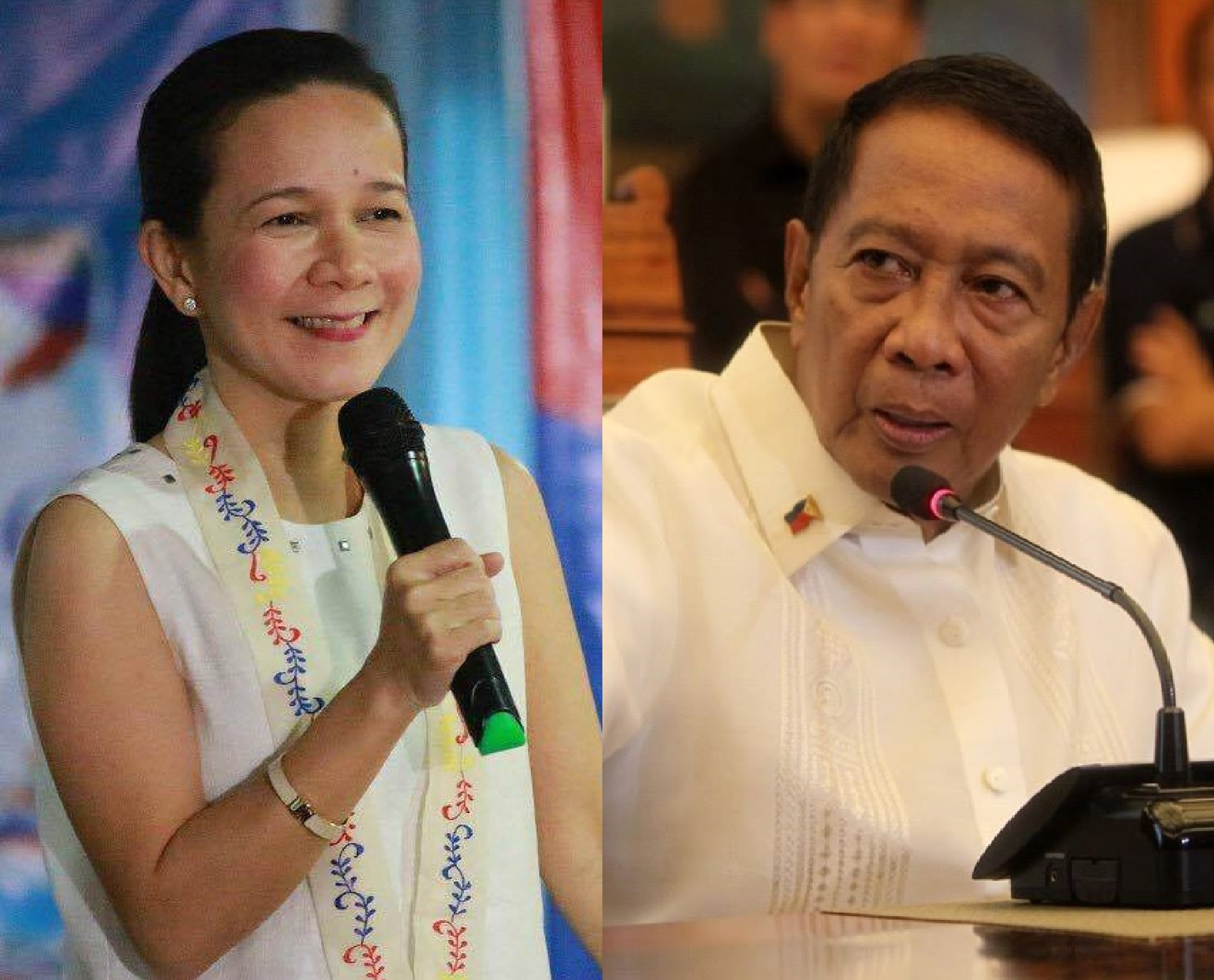 Sen. Grace Poe (left) grabbed the top spot from Vice Pres. Jejomar Binay (right) in the latest Social Weather Station (SWS) survey for president. (Facebook photos)