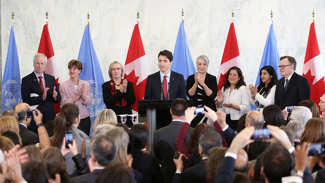 Prime Minister Justin Trudeau announces Canada's candidacy for election to the UN Security Council as a non-permanent member for a two-year term. (Photo: The Prime Minister's website)