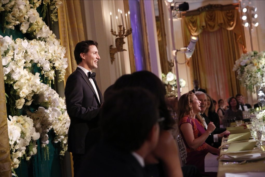 Prime Minister Justin Trudeau (in photo) offers toast in tonight's state dinner at the White House. (Photo: Justin Trudeau | Twitter)