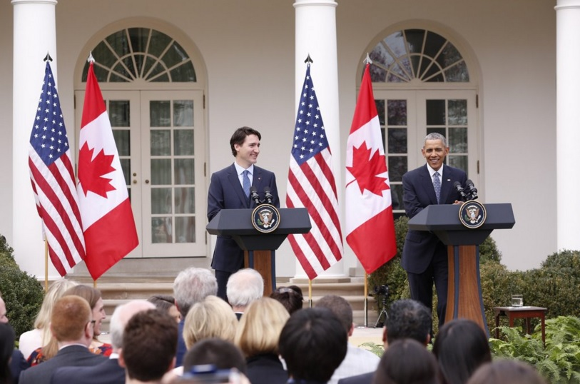 Prime Minister Justin Trudeau (left) and US President Barack Obama (right) address crowd at the White House. (Photo: Canadian PM | Twitter)