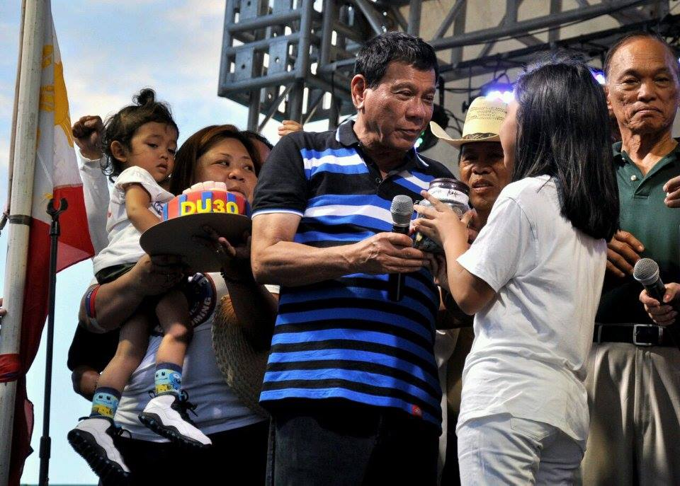 Mayor Rodrigo Duterte (in photo) of southern Davao city led with 34 per cent of 4,000 respondents in the Pulse Asia survey released Sunday. (Photo: Rody Duterte/Facebook)