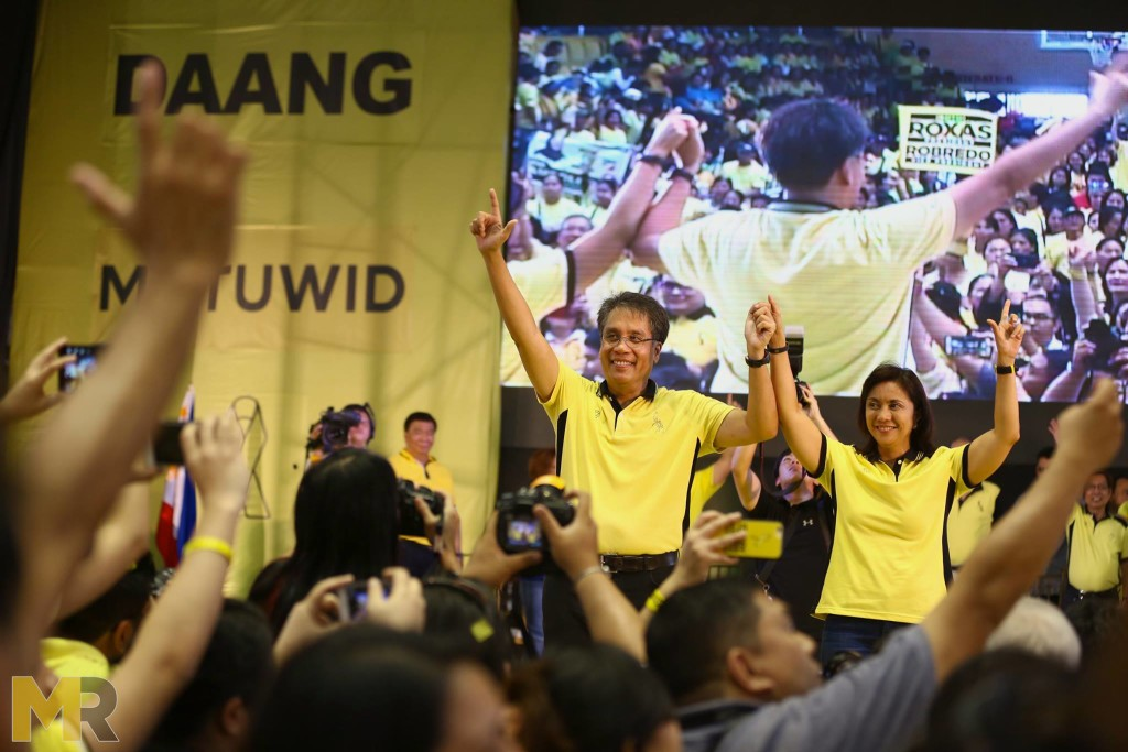 Presidential candidate Mar Roxas with running mate Rep. Leni Robredo during a campaign.  (Photo from Roxas' official Facebook page)