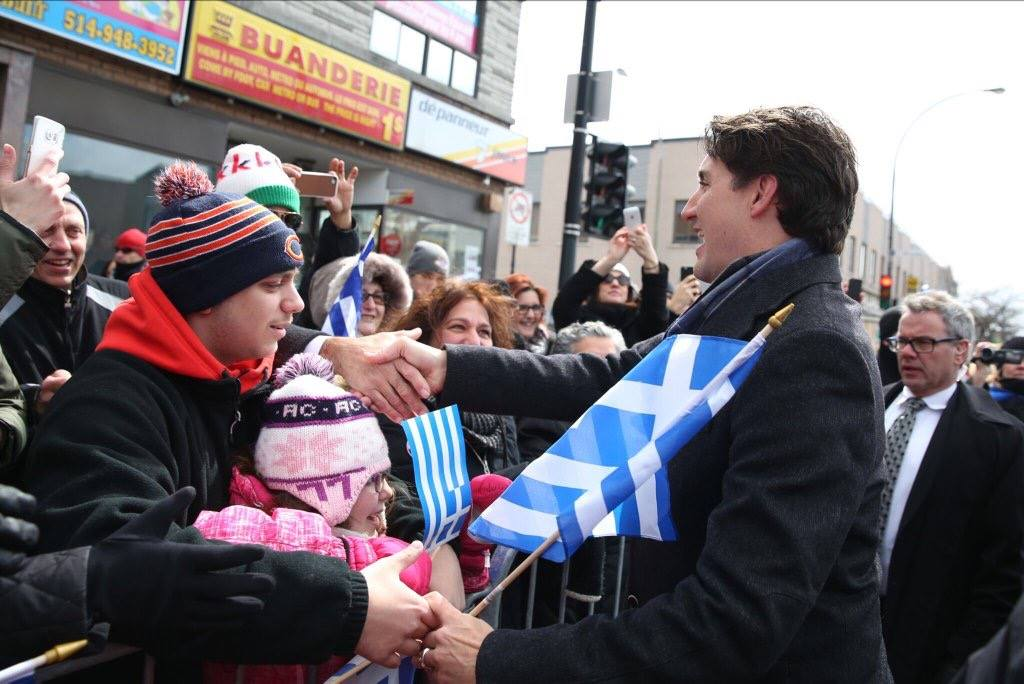 A day after Trudeau was mobbed by fans in a Halifax farmer's market, he proved to be equally popular with an enthusiastic Montreal crowd. (Photo: Justin Trudeau/Facebook)