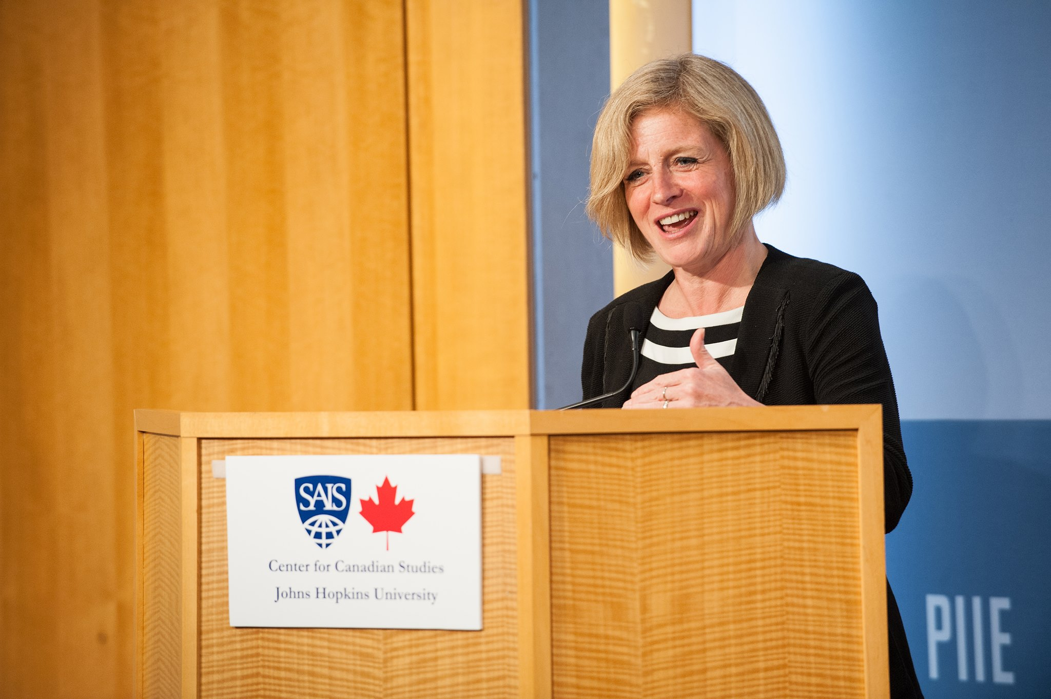 """I'm sure you've heard a lot about our province, especially the oilsands,"" Notley (in photo) told an audience from Johns Hopkins University on Thursday. (Photo: Rachel Notley/Facebook)"