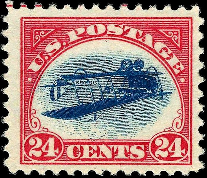 The inverted Jenny postage stamp, one of the world's most famous pieces of postage.  (Photo courtesy of the Bureau of Engraving and Printing, United States Post Office Department)