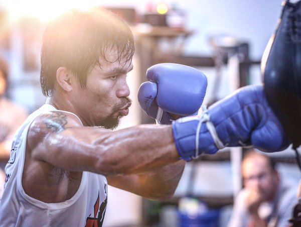 "Manny ""Pacman"" Pacquiao, who is seeking a Senate seat under the UNA slate in the May 9 elections, earlier announced that he will officially retire from boxing after the Bradley fight.  (Photo from Pacquiao's official Twitter account)"