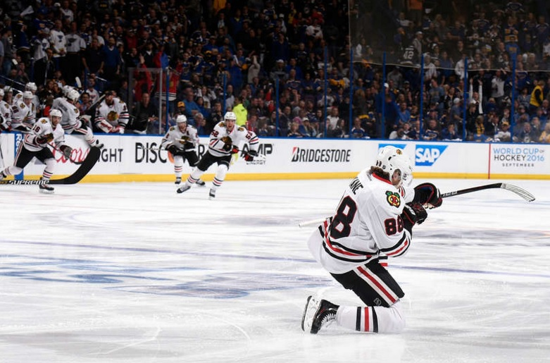 Kane, who led the NHL in scoring with 106 points, circled the net to corral his own shot that slowly slid wide, and poked it past Brian Elliott at 3:07 to send a standing-room crowd of 19,956 home unhappy. (Photo: Chicago Blackhawks/Twitter)