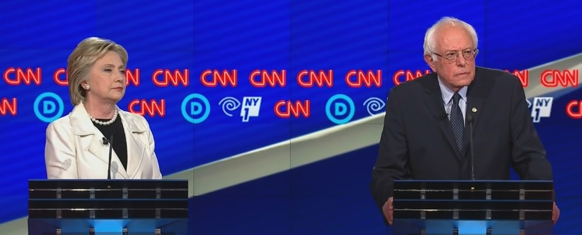 The debate was the first for the Democratic candidates in five weeks. It came ahead of Tuesday's primary in New York, a high-stakes contest with a huge cache of delegates at stake. (Screenshot from CNN footage.)