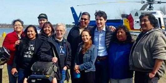 Trudeau spent seven hours on Shoal Lake 40 First Nation—a man-made island near the Manitoba-Ontario boundary. (Photo: Shoal Lake #40)
