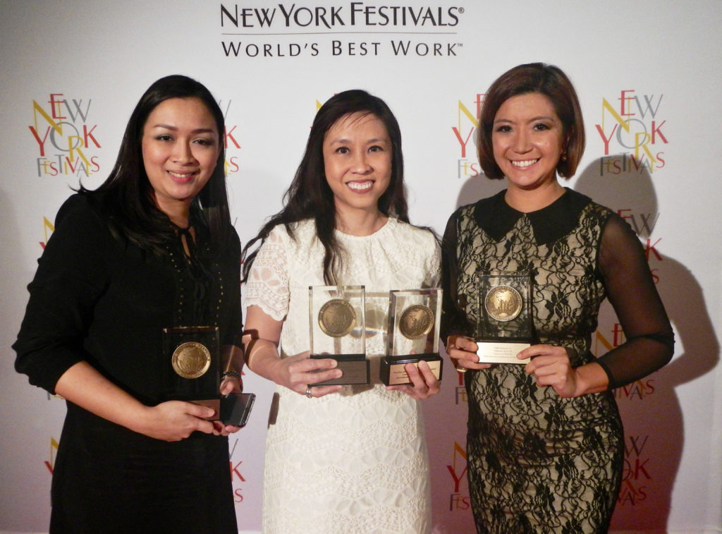 GMA's New York Fest medals were accepted by Senior Program Manager Angeli Atienza,  News and Public Affairs' First Vice President Nessa Valdellon and multi-awarded I-Witness host and writer Kara David. (Contributed photo)