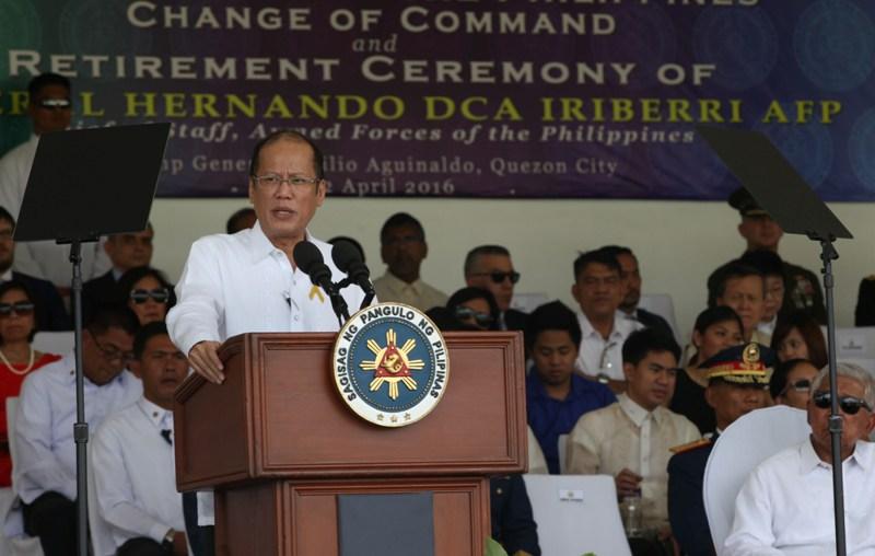 "President Benigno ""Noynoy"" Aquino III at the AFP General Headquarters (GHQ) Grandstand of Camp Emilio Aguinaldo in Quezon City. (Photo by Benhur Arcayan/Malacañang Photo Bureau)"
