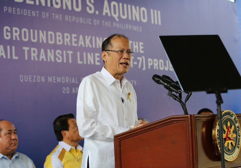 President Benigno S. Aquino III delivers his speech during the Groundbreaking Ceremony of the Metro Rail Transit 7 (MRT) Project at the Children's Garden of the Quezon Memorial Circle in Quezon City on Wednesday (April 20, 2016). (Photo by Lauro Montellano, Jr. / Malacañang Photo Bureau)