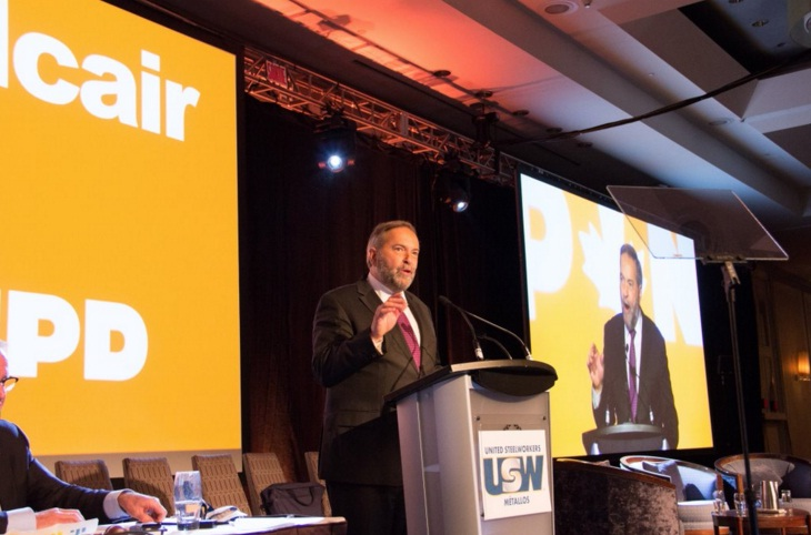 Mulcair (in photo) travelled to the Alberta capital Wednesday without any visible rivals for his job in sight, and yet he remains under pressure from critics, party insiders and others who believe it's time for a change at the top. (Photo: Tom Mulcair/Twitter)