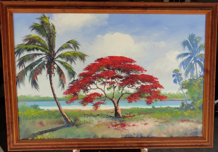 """""""Royal Poiciana Along The River"""" by James Gibson, one of the 26 African-American landscape painters known as the Florida Highwaymen. (Facebook photo)"""