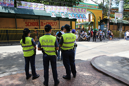 PNP personnel are deployed nationwide at various precincts to ensure a peaceful and secure national and local elections. (Photo: PNP PIO)