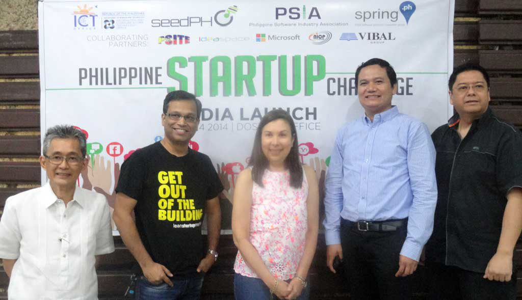 Proponents of the Philippine Startup Challenge (PSC) pose for a photograph at the Media Launch of the PSC. In the photo (L- R) are DOST–ICT Office Deputy Executive Director Monchito Ibrahim; PSIA Information & Research Committee Chairperson Arup Maity; PSIA Director Ma. Rosario Gruet; Philippine Society of Information Technology Educators (PSITE)'s Dr. Marmelo Abante; and PSIA President Joey Gurango. (Photo from the Information and Communications Technology Office's website)
