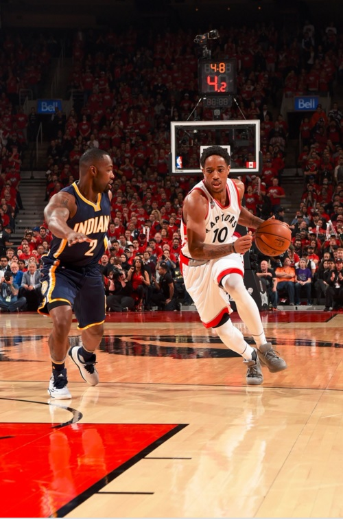 DeRozan (right) poured in 30 points including two huge free throws in the dying minutes as the Raptors beat the Pacers 89-84 in Sunday's thrilling Game 7, winning their best-of-seven opening-round series against Indiana. (Photo: NBA/Twitter)