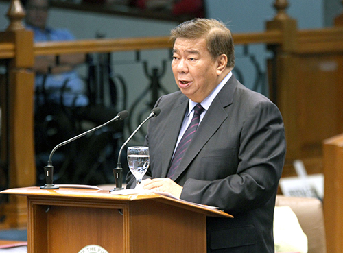 "THE SENATE'S PRESENT FOR THE FUTURE: Senate President Franklin Drilon delivers the Senate's concluding message for the 16th Congress as it formally ended during Monday's session. In his speech, Drilon highlighted the sterling accomplishments of the Senate over the past three years, saying that these laws have paved the way for a better Philippines. ""Hard work enabled us to achieve so much in a span of three years,"" he said. (Photo: Cesar Tomambo/PRIB)"