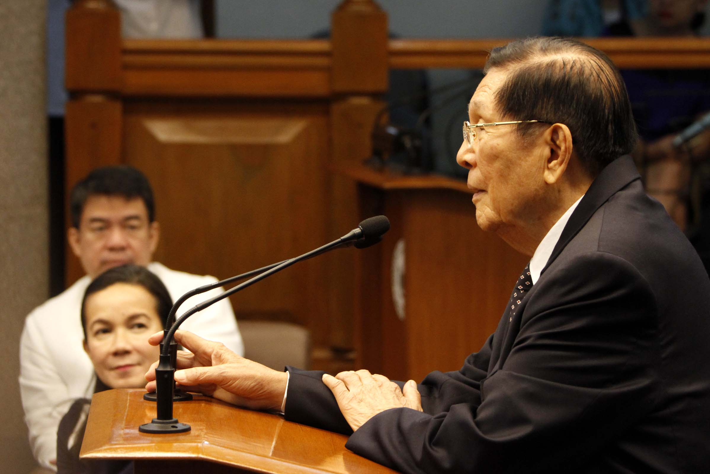 Senate Minority Leader Juan Ponce Enrile thanks his colleagues in his valedictory speech on Monday  at the Senate Building in Pasay City. Enrile is retiring from government service after having served the country's Executive Department for 20 years where he served as Justice and Defense secretary, and 27 years in the Legislative Department with four terms in the Senate and three years in the House of Representatives. (Photo: Avito Dalan/PNA)