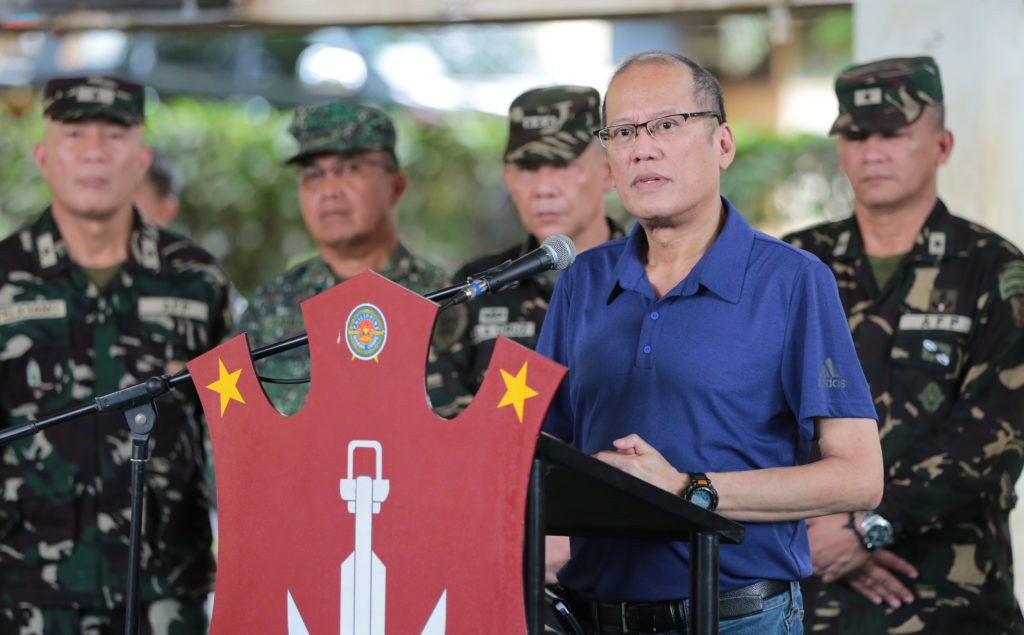 President Noynoy Aquino answers questions from the media after the situational briefing from the Joint Task Force of the AFP at Camp Teodulfo S. Bautista in Jolo, Sulu on June 15.  (Photo: Benhur Arcayan/ Malacañang Photo Bureau/PNA)