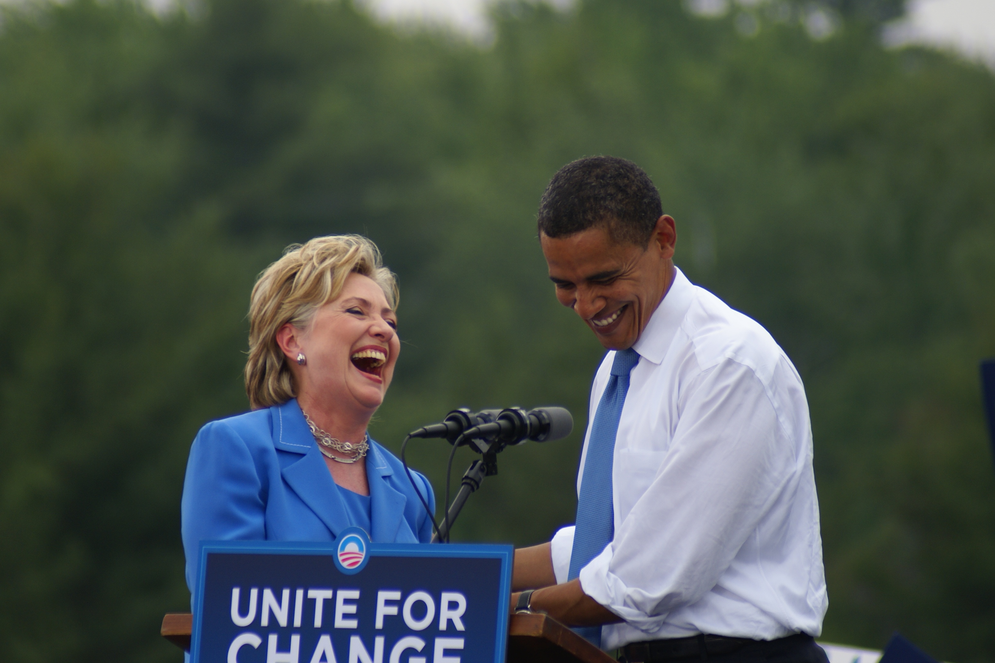 """""""Look, I know how hard this job can be. That's why I know Hillary will be so good at it,"""" Obama said. """"I have seen her judgment. I have seen her toughness. I've seen her commitment to our values."""" (Photo by Marc Nozell/Flickr)"""