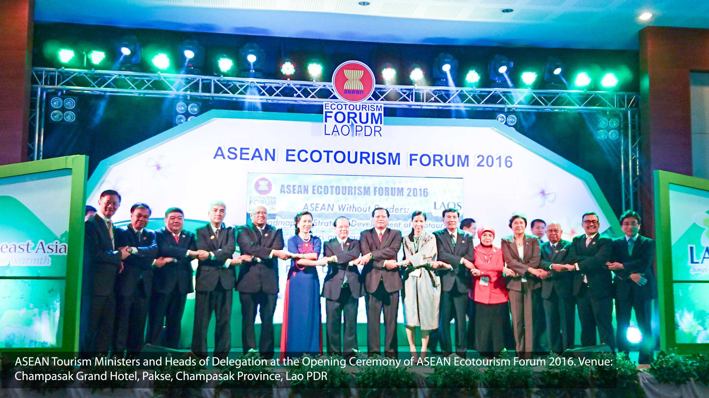 The ASEAN Tourism Ministerial Roundtable Meeting (MRT) on Ecotourism was convened on 22 June 2016 in Pakse, Champasak Province, Lao PDR, at the initiative of the Ministry of Information, Culture and Tourism of Lao PDR. The MRT held in conjunction with the ASEAN Ecotourism Forum (AEF). The Meeting was chaired by H.E. Prof. Dr. Bosengkham Vongdara, Minister of Information, Culture and Tourism, Lao PDR and H.E. Ms. Kobkarn Wattanavrangkul, Minister for Tourism and Sports, Kingdom of Thailand, serving as Co-Chair. (Photo: ASEAN's website)