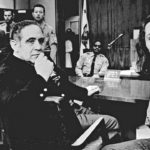 Charles Manson (right) with his defense lawyer Irving Kanarek in Tate's murder trial. Also in this photo is Susan Atkins (far left), one of the perpetrators in the murder of Tate et al.