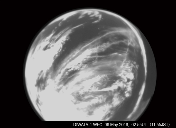 An image of the earth taken by the fish-eye monochrome wide-field camera (WFC) on Diwata-1 captured at 02:55 UT (11:55 JST) on May 6 (Photo courtesy of the PHL-MICROSAT Program)