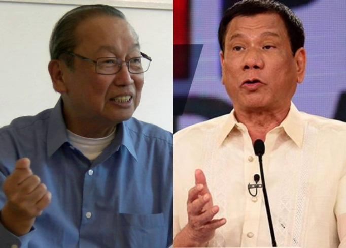 "FILE PHOTO/ Communist Party of the Philippines founder Jose Maria ""Joma"" Sison (left) and President Rodrigo Duterte (right). (Facebook photos)"