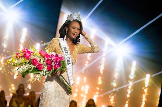 Barber (in photo) is the first-ever military member to win Miss USA.  (Photo: Miss Universe)